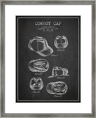 Cowboy Cap Patent - Charcoal Framed Print