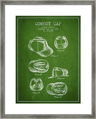 Cowboy Cap Patent - Green Framed Print by Aged Pixel