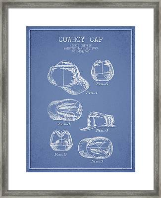 Cowboy Cap Patent - Light Blue Framed Print