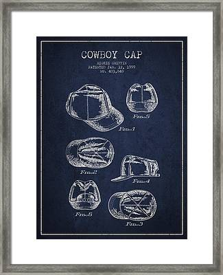 Cowboy Cap Patent - Navy Blue Framed Print by Aged Pixel