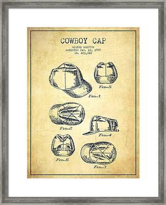 Cowboy Cap Patent - Vintage Framed Print by Aged Pixel