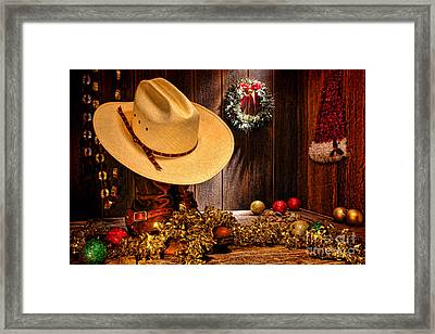 Cowboy Christmas Party Framed Print