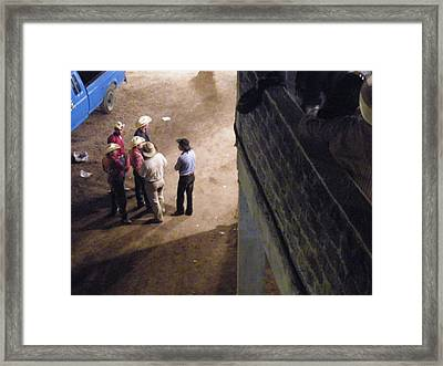 Framed Print featuring the photograph Cowboy Conference by Brian Boyle
