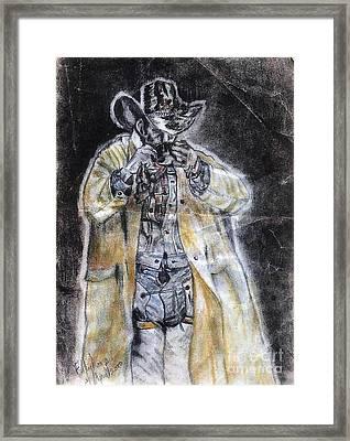 Cowboy Drinking Coffee Framed Print