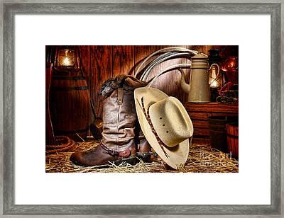 Cowboy Gear Framed Print by Olivier Le Queinec