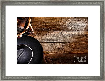 Cowboy Gear On Wood Framed Print