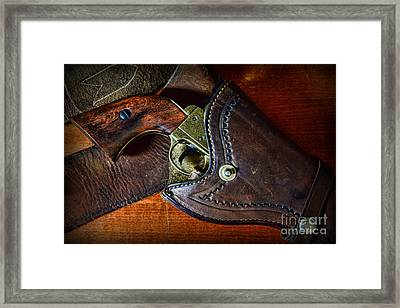 Cowboy Gun In Holster Framed Print by Paul Ward