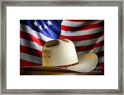 Cowboy Hat And American Flag Framed Print