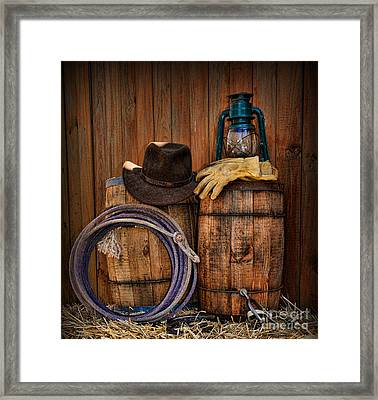 Cowboy Hat And Bronco Riding Gloves Framed Print
