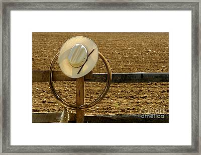 Cowboy Hat And Lasso On Fence Framed Print
