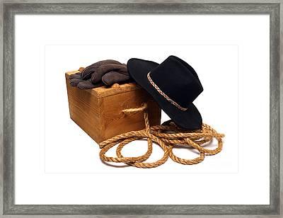 Cowboy Hat And Ranch Tools Framed Print
