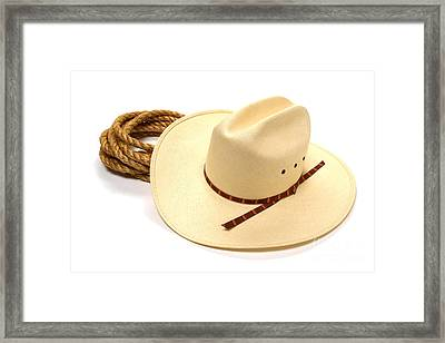 Cowboy Hat And Rope Framed Print