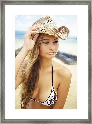 Cowboy Hat At The Beach Framed Print by Kicka Witte