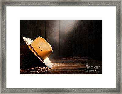 Cowboy Hat In Sunlight Framed Print