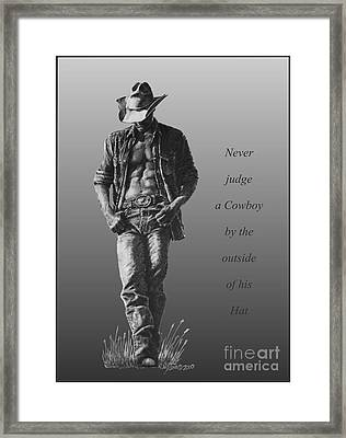 Cowboy Hat Verse Framed Print by Marianne NANA Betts