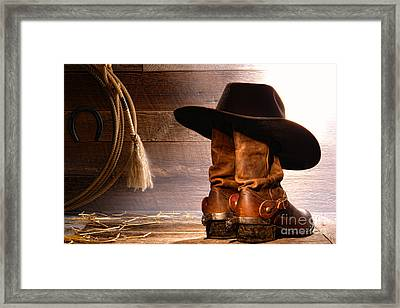 Cowboy Hat On Boots Framed Print