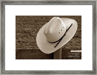 Cowboy Hat On Fence Framed Print