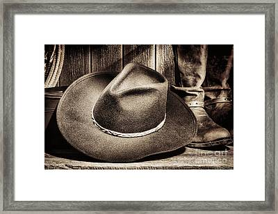 Cowboy Hat On Floor Framed Print