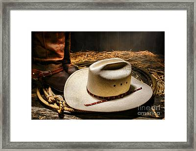 Cowboy Hat On Lasso Framed Print