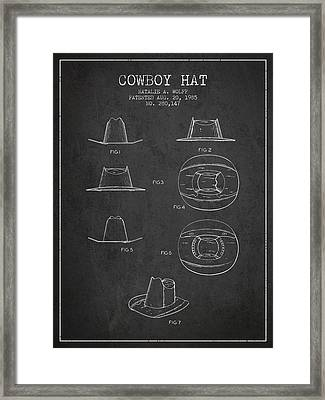 Cowboy Hat Patent From 1985 - Charcoal Framed Print