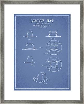 Cowboy Hat Patent From 1985 - Light Blue Framed Print