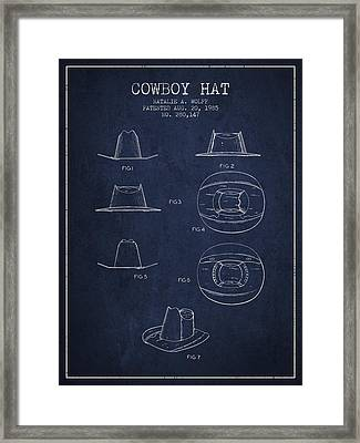 Cowboy Hat Patent From 1985 - Navy Blue Framed Print