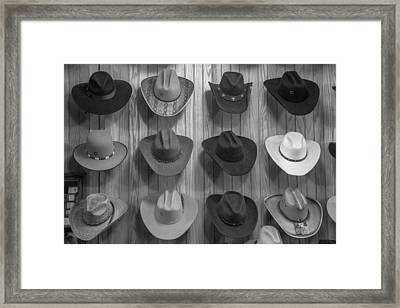 Cowboy Hats On Wall In Nashville  Framed Print