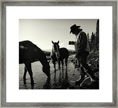 Cowboy Having His Morning Coffee Framed Print