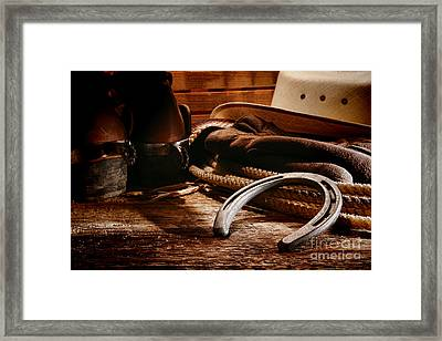 Cowboy Horseshoe Framed Print by Olivier Le Queinec