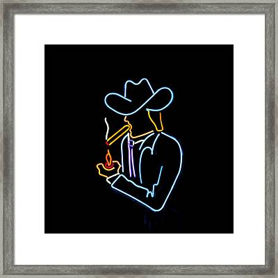 Cowboy In Neon Framed Print by Art Block Collections