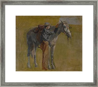 Cowboy In The Badlands Framed Print by Thomas Eakins