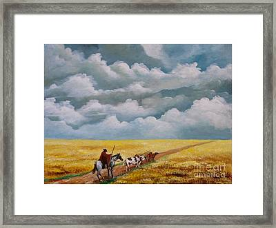 Cowboy In The Pampa Framed Print