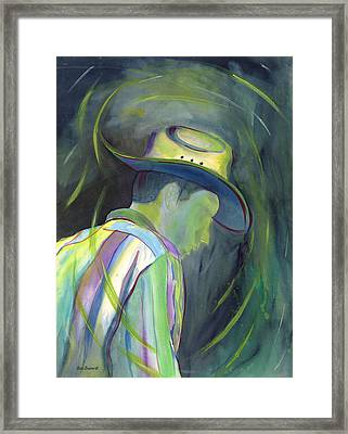 Cowboy In The Rain Framed Print by Sara Srubar