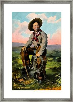 Cowboy King Of The Plains Framed Print by Raphael Tuck And Sons