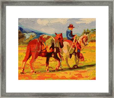 Cowboy Art Cowboy Leading Pack Horse Painting Bertram Poole Framed Print
