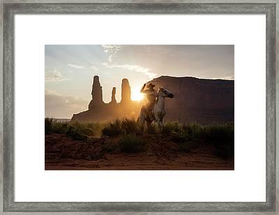 Cowboy Framed Print by Michael Szoenyi