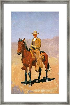 Cowboy Mounted On A Horse Framed Print