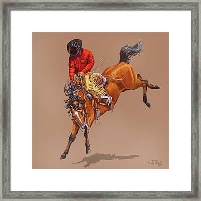 Cowboy On A Bucking Horse Framed Print by Randy Follis
