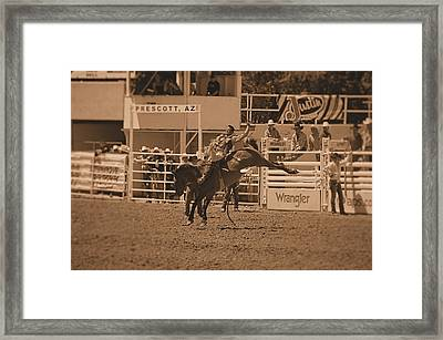 Cowboy On A Bucking Horse Framed Print by Stormys Unique   Creations