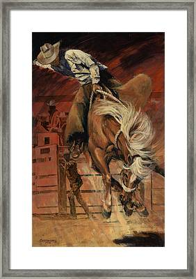 Cowboy On Bucking Horse Framed Print
