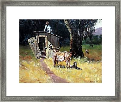 Cowboy On The Outhouse  Framed Print