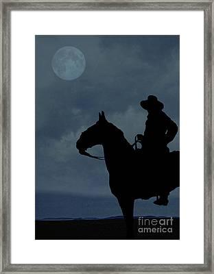 Cowboy On The Range Framed Print by Edward Fielding