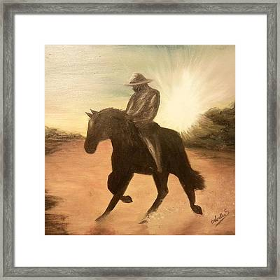Cowboy On The Range Framed Print by Isabella F Abbie Shores FRSA