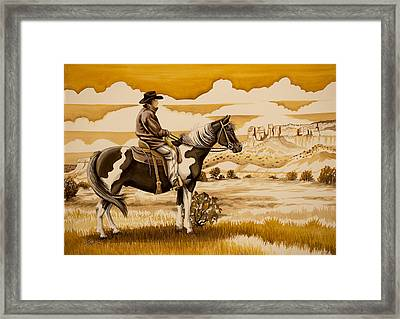 Cowboy On The Range Framed Print