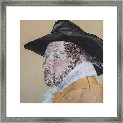 Cowboy Pastel Framed Print by Ann Marie Chaffin