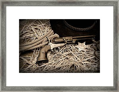 Cowboy - Ready To Ride - Black And White Framed Print by Paul Ward