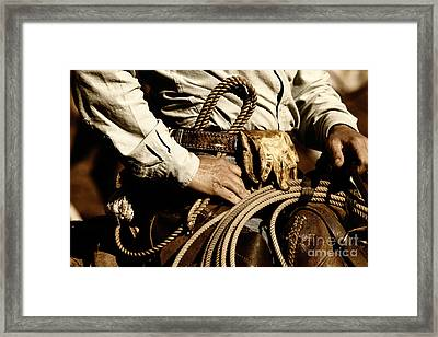 Framed Print featuring the photograph Cowboy Rides In Sunset Light by Lincoln Rogers