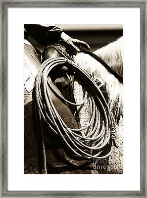 Framed Print featuring the photograph Cowboy Rides To Work by Lincoln Rogers