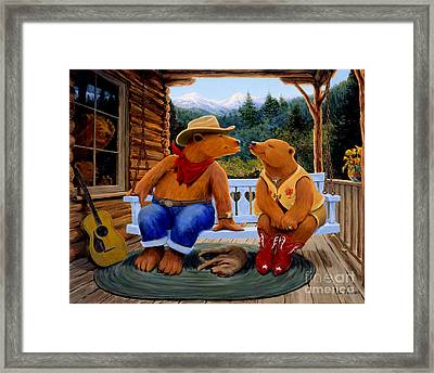 Cowboy Romance Framed Print by Charles Fennen