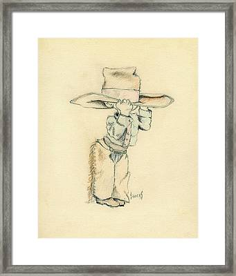 Cowboy Framed Print by Sam Sidders